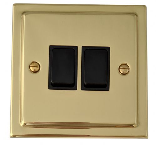G&H TB2B Trimline Plate Polished Brass 2 Gang 1 or 2 Way Rocker Light Switch